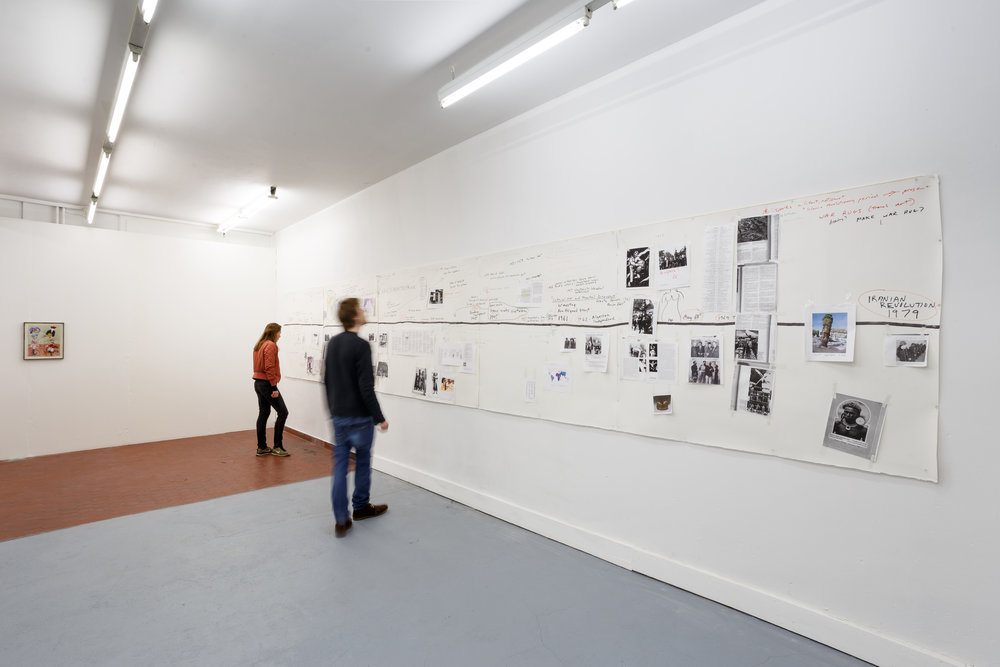 Installation view,  6. Sam Durant & Andrew Gilbert , Last Tango, Zurich, 2017. Sam Durant,  Working Drawing for Nonaligned Research , 2013-ongoing, mixed media collage, 5 parts: 139 x 134 cm; 135 x 134 cm; 181 x 133 cm; 141 x 134 cm; 163.5 x 134.5 cm Photo: Kilian Bannwart