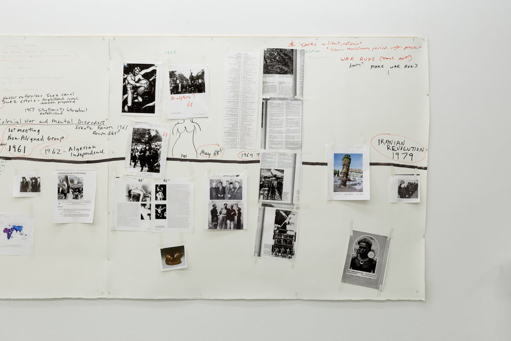 Sam Durant,  Working Drawing for Nonaligned Research  (detail), 2013-ongoing, mixed media collage Photo: Kilian Bannwart