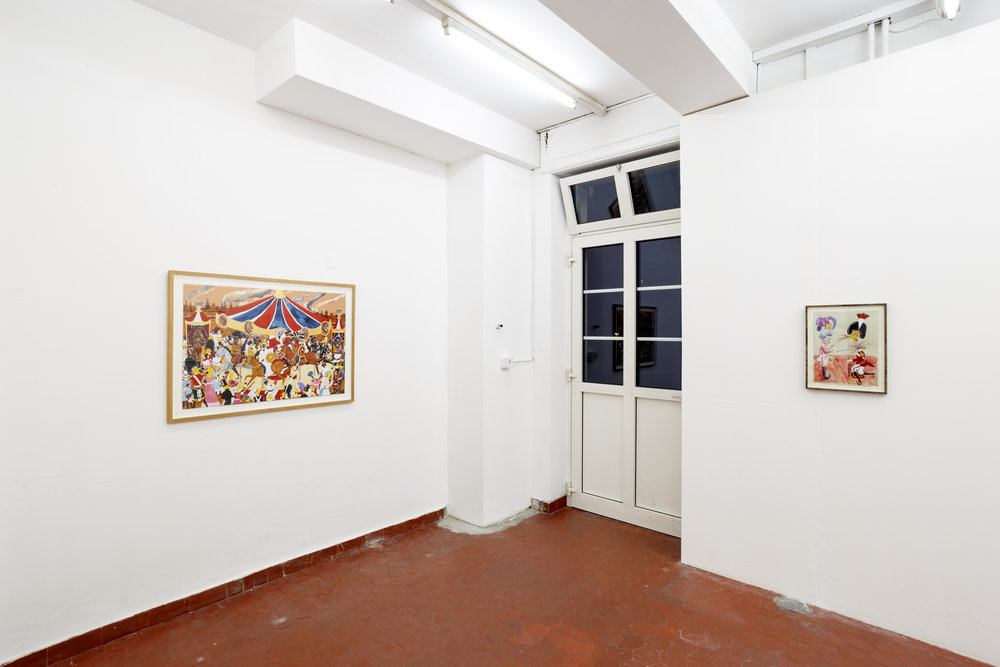Left: Andrew Gilbert, ´  The Queen Victoria  '  s Enemies Carrousel  ´ , 2013, acrylic, watercolor and fineliner on paper, 70 x 100 cm Right: Andrew Gilbert,´ Andrew is accidentally Executed while receiving his Knighthood  ´ , 2011, acrylic, watercolor and fineliner on paper, 40 x 30 cm Photo: Kilian Bannwart