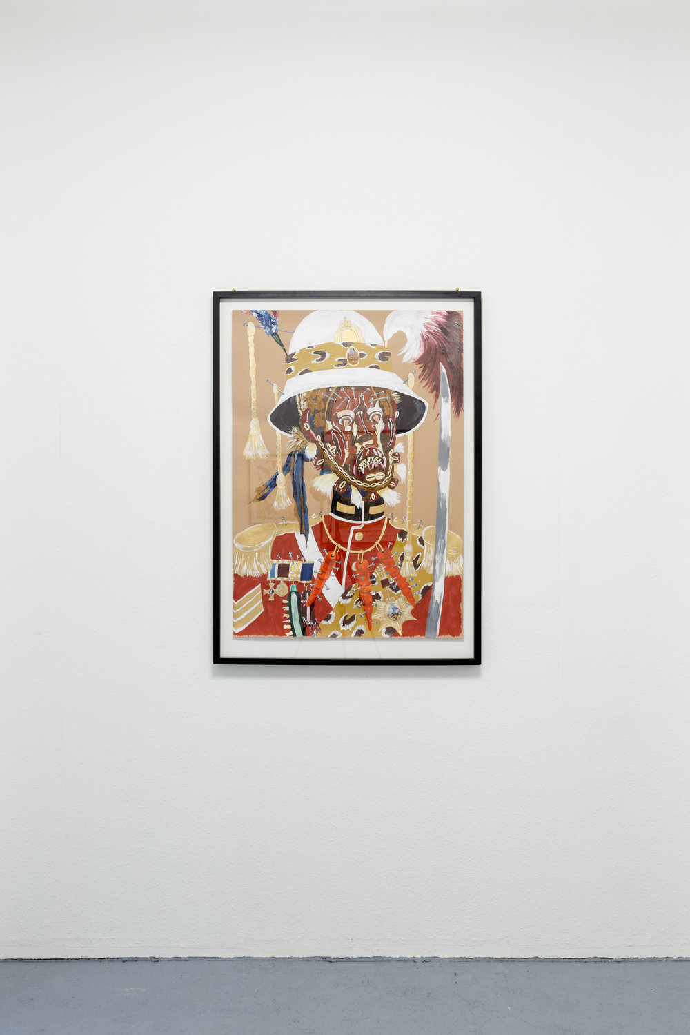 Andrew Gilbert,´ Hauka Fetish of Colonial Governor  ´ , 2014, acrylic, watercolor and fineliner on paper, 100 x 70 cm Photo: Kilian Bannwart
