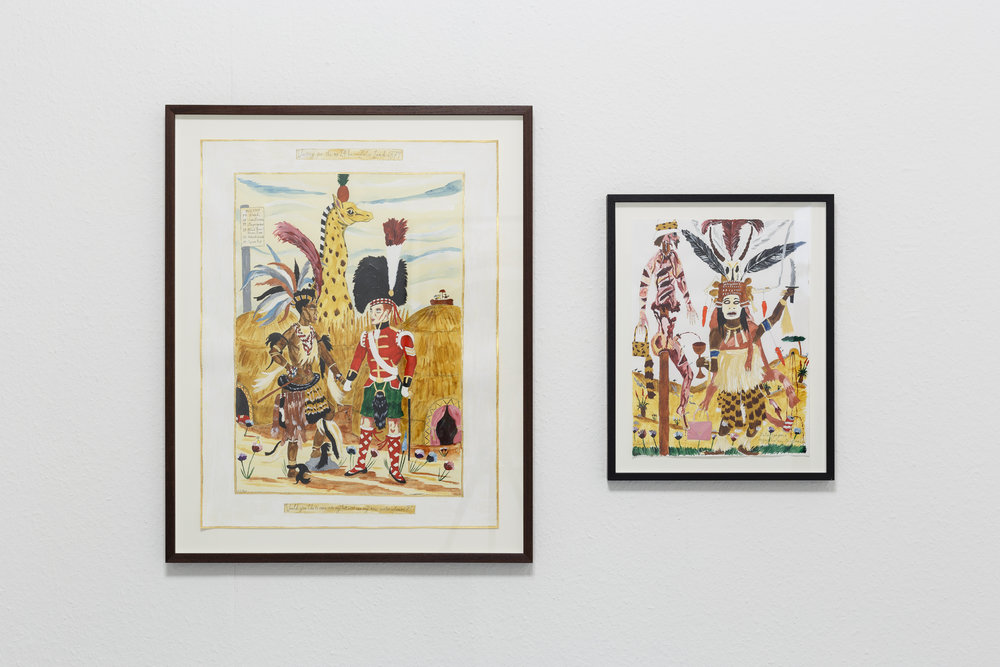 "Left: Andrew Gilbert,  ""  Would you like to come in to my hut and see my new watercolours?  "" , 2015, acrylic, watercolor and neliner on paper, 64 x 50 cm  Right: Andrew Gilbert  '  Zulu Sangoma enjoying her new Drinks Machine  ',  2016, acrylic, watercolor and fineliner on paper, 40 x 30 cm Photo: Kilian Bannwart"