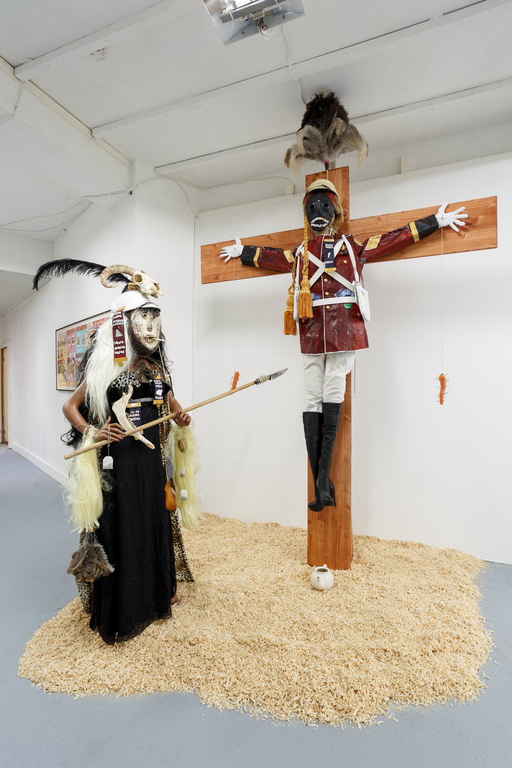 Installation view,  6. Sam Durant & Andrew Gilbert , Last Tango, Zurich, 2017. Andrew Gilbert,  ´The Eternal Idol – British Officer Crucified, 8th Xhosa War – 1853´ , 2017, mixed media, dimensions variable Photo: Kilian Bannwart