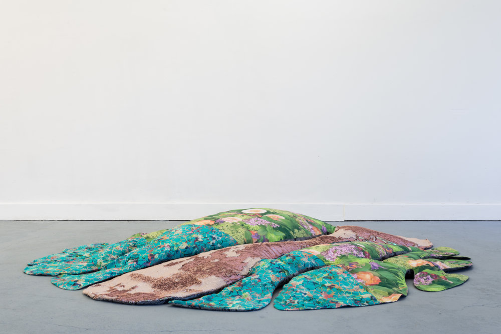 Donatella Bernardi,  Carpet Pond , 2017, digital printed fabric, shaped canvas, 175 x 175 cm Photo: Kilian Bannwart