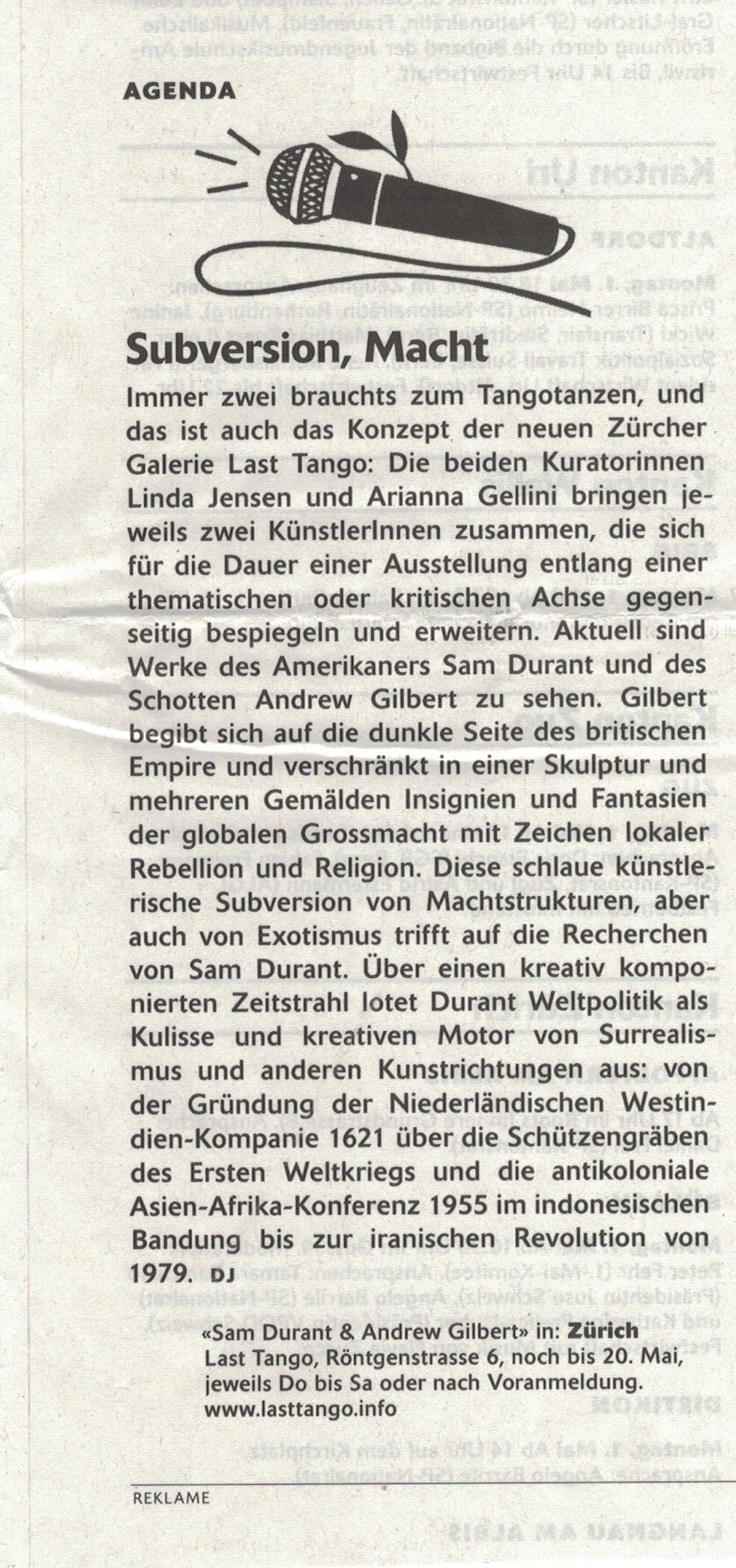 WOZ Die Wochenzeitung, 27/04/17 by Daniela Janser -