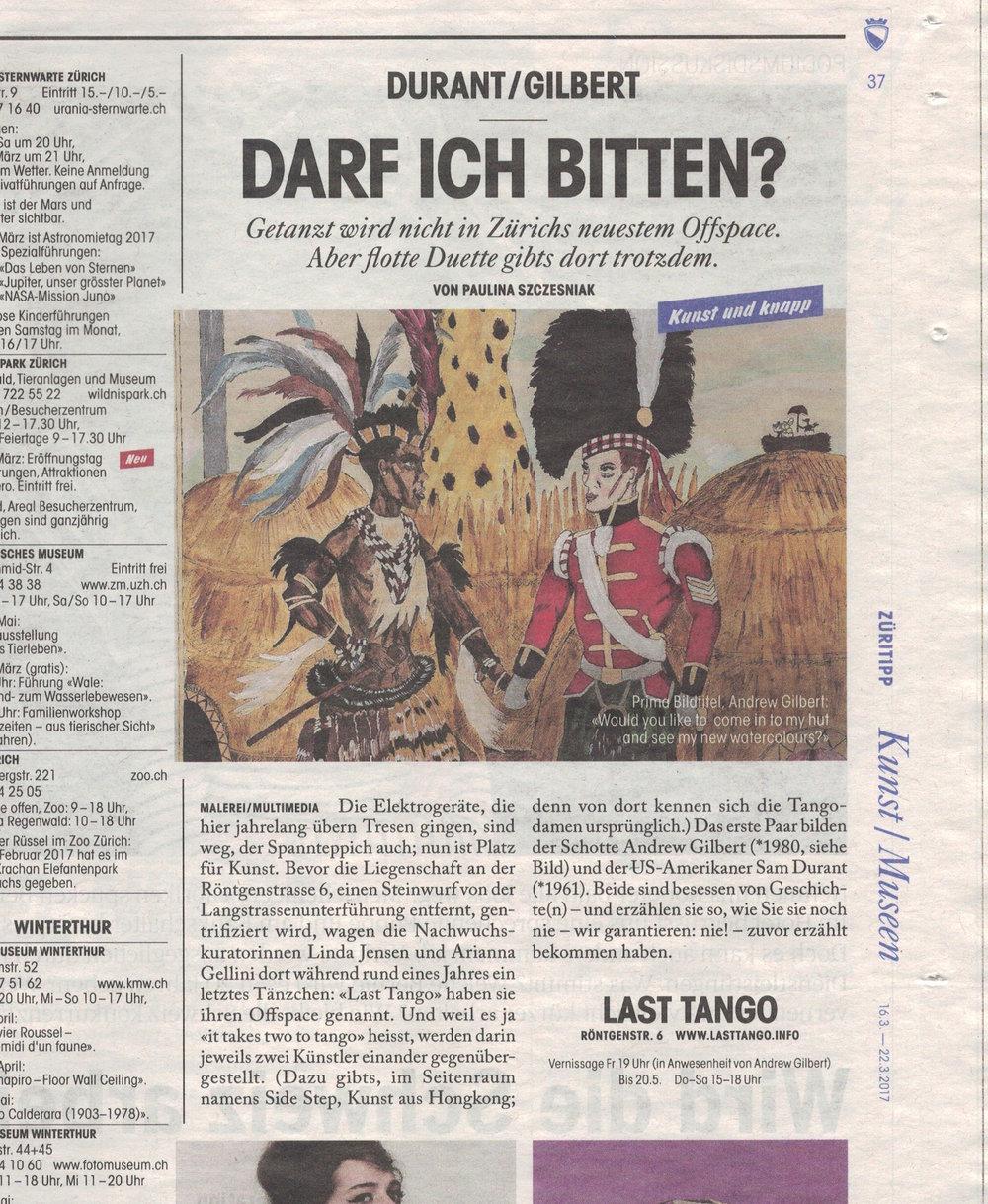 Tages Anzeiger, Züritipp,16/03/17 by Paulina Szczesniak -