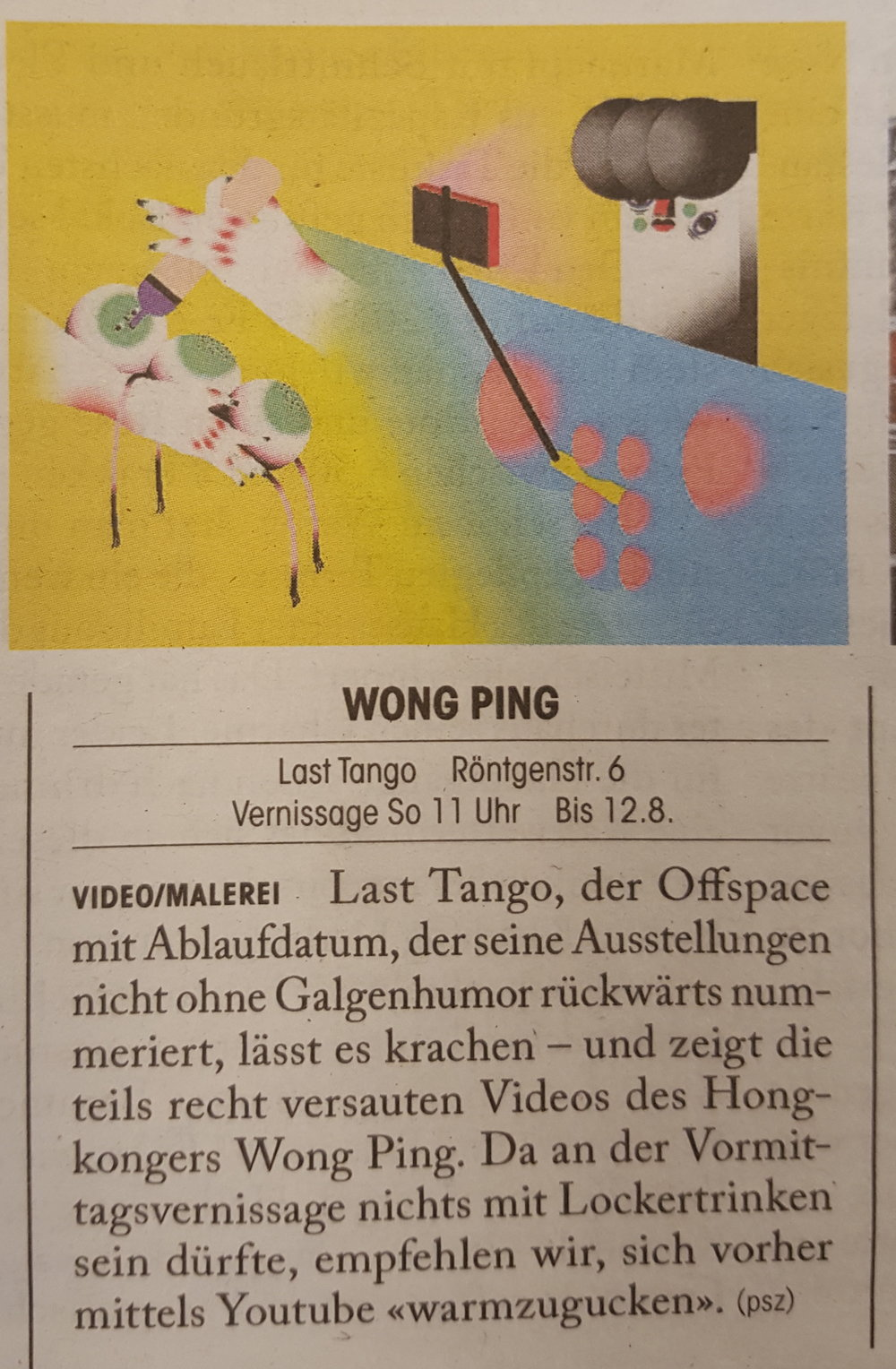 Tages Anzeiger, Züritipp,14/06/17 by Paulina Szczesniak -