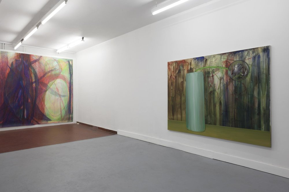 Left: Sabine Schlatter,  The Surface of Light I , 2017, colored pencil on paper, 280 x 346 cm Right: Hans Witschi,  Still Life , 1996, oil on primed cotton, 173 x 229 cm Photo: Christoph Oeschger
