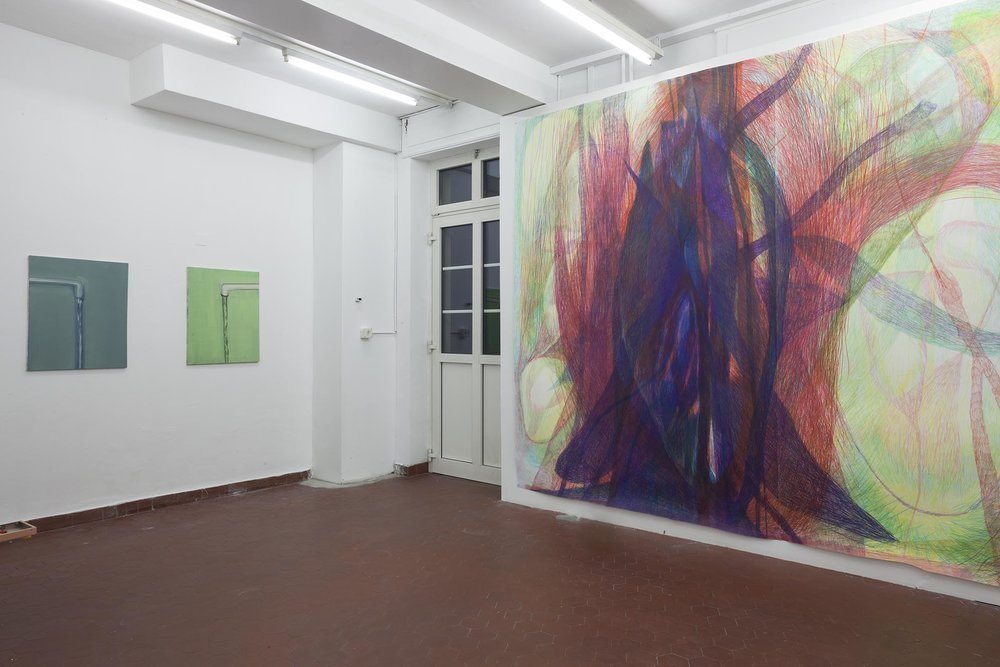Right: Sabine Schlatter,  The Surface of Light I , 2017, colored pencil on paper, 280 x 346 cm Left: Hans Witschi,  Untitled (Water) , 2000, oil on primed cotton, 76 x 61 cm; Hans Witschi,  Untitled (Water) , 2000, oil on primed cotton, 76 x 61 cm Photo: Christoph Oeschger