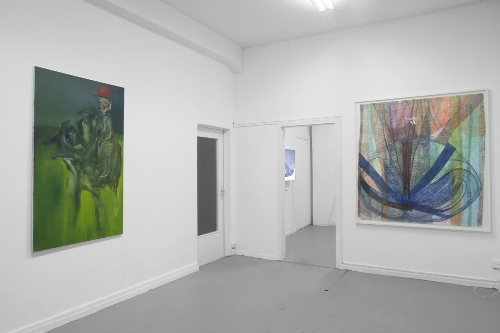 Left: Hans Witschi,  Horse and Rider at Nightfall , 1992, oil on primed cotton, 152 x 91 cm Right: Sabine Schlatter,  Untitled , 2011, colored pencil on paper, 150 x 140 cm Photo: Christoph Oeschger