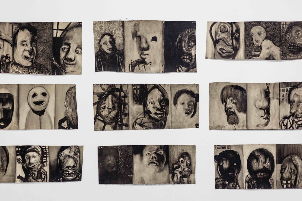 Hans Witschi,  Human Being: Rough Draft, 54 Studies in Groups of Three , (detail) 1984, oil on primed canvas, ca. 100 x 310 cm  Photo: Kilian Bannwart