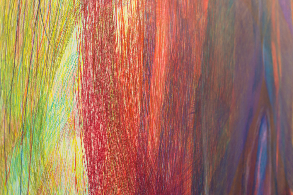 Sabine Schlatter,  The Surface of Light I, (detail), 2017, colored pencil on paper, 280 x 346 cm   Photo: Kilian Bannwart