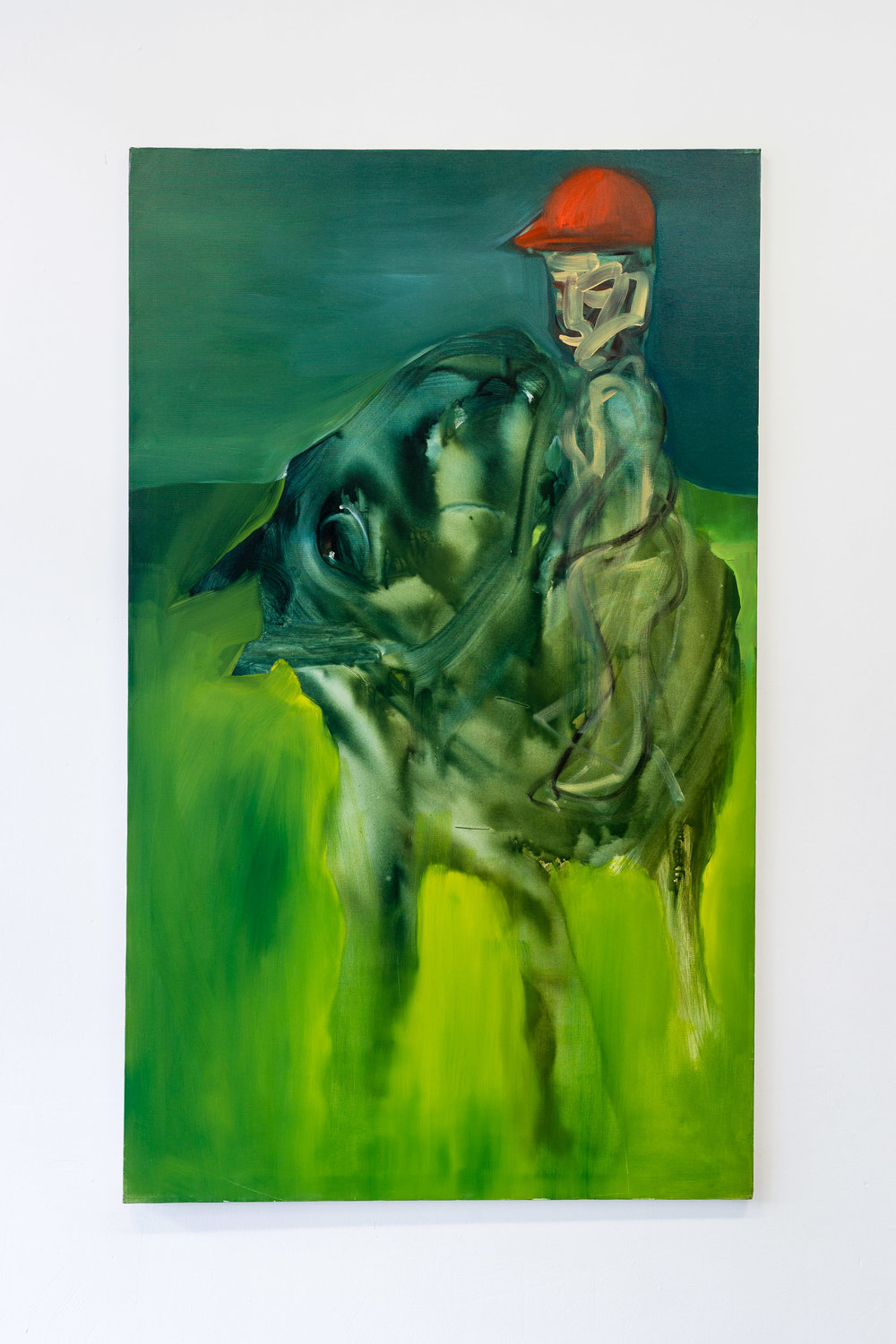 Hans Witschi,  Horse and Rider at Nightfall , 1992, oil on primed cotton, 152 x 91 cm   Photo: Kilian Bannwart