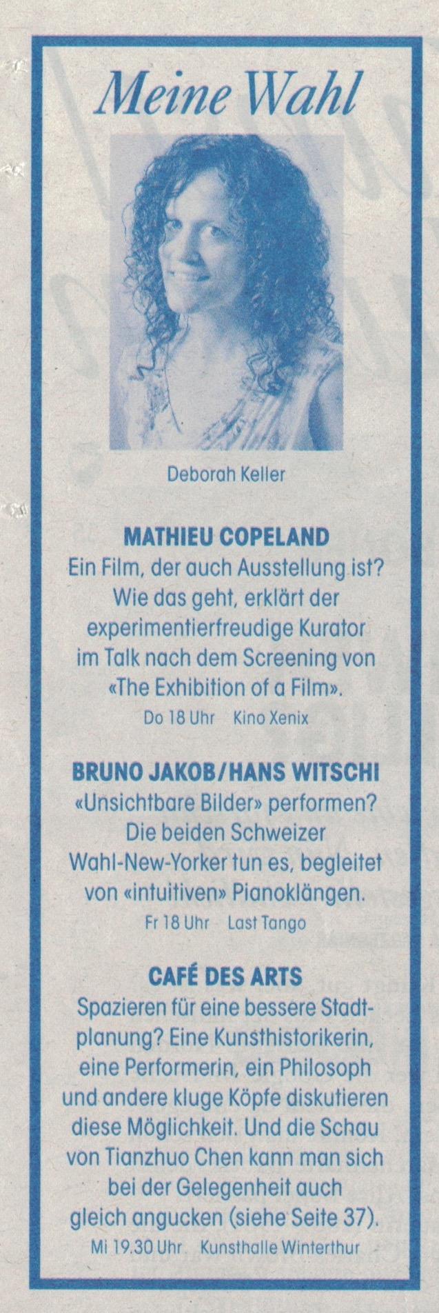 Tages Anzeiger, Züritipp, 21/09/17 by Deborah Keller -