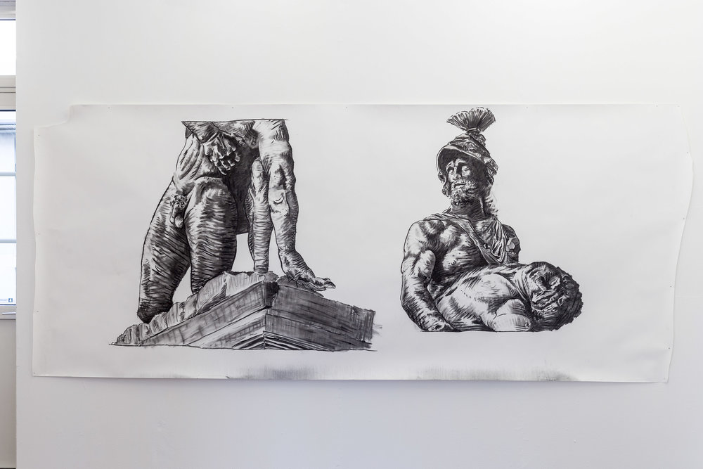 Peter Voss-Knude,  One Statue, Two Eyes , 2017, charcoal on paper, 150 x 360 cm  Photo: Kilian Bannwart