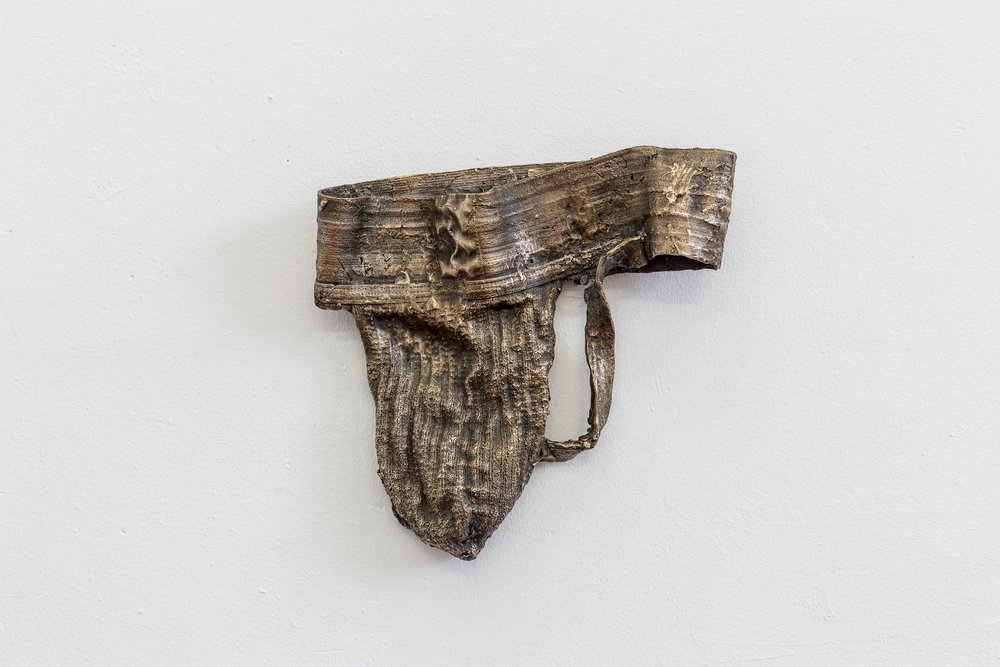 Peter Voss-Knude,  Male Version of a Sport Bra,  2014, cast bronze, 26 x 27 x 4 cm  Photo: Kilian Bannwart