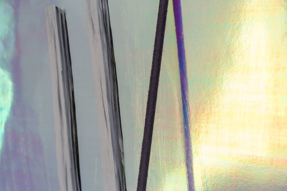 Peter Voss-Knude,  Tuning Fork  (detail), 2017, oil pastel on reflective paper, 64.5 x 90 cm  Photo: Kilian Bannwart