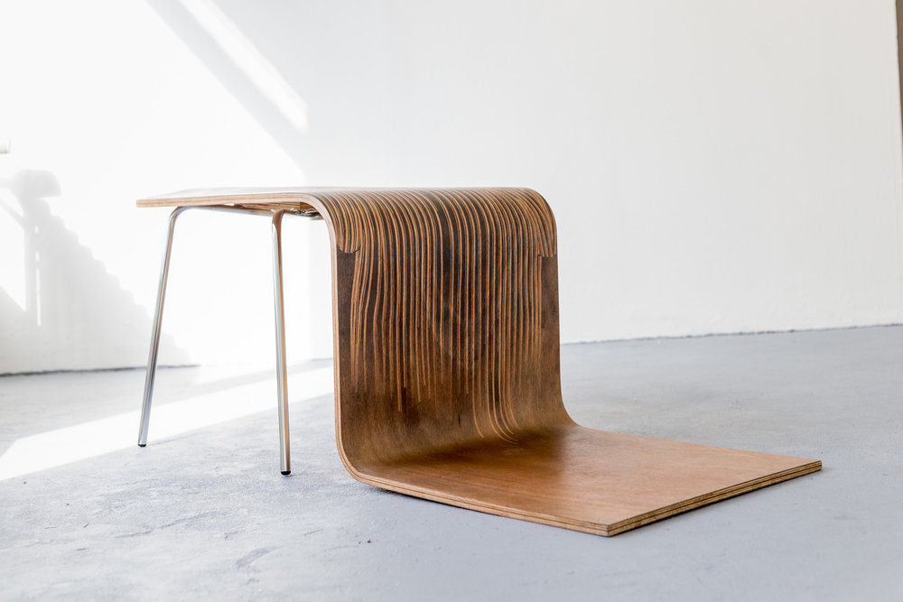 Fiona Banner,  Pinstripe Chair,  2015, graphite, vinyl, plywood, chair base, 43.3 x 149 x 46.2 cm  Photo: Kilian Bannwart