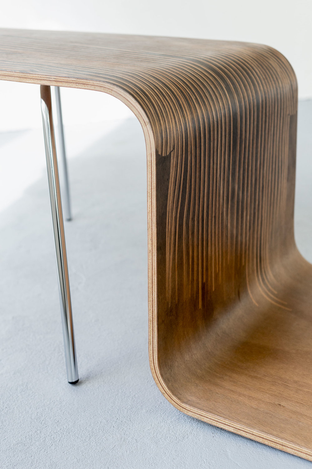 Fiona Banner,  Pinstripe Chair  (detail), 2015, graphite, vinyl, plywood, chair base, 43.3 x 149 x 46.2 cm  Photo: Kilian Bannwart
