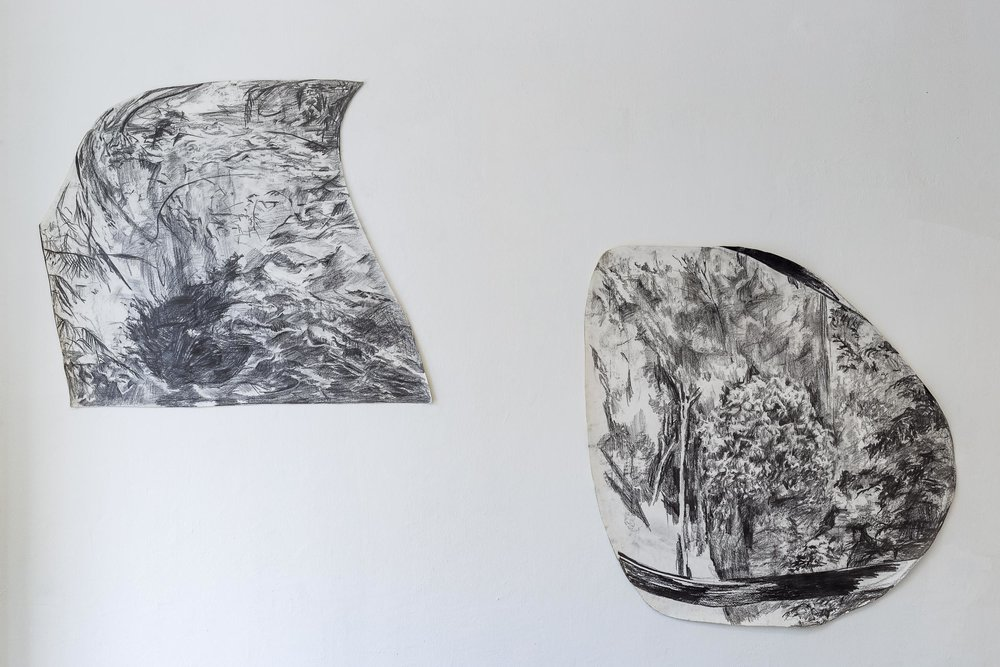 Left: Peter Voss-Knude,  Waterfall seen out of the window of a police car , 2011, pencil on paper, ca. 90 x 100cm  Right: Peter Voss-Knude, J ungle seen out of the window of a police car,  2011, pencil on paper, ca. 90 x 100cm  Photo: Kilian Bannwart
