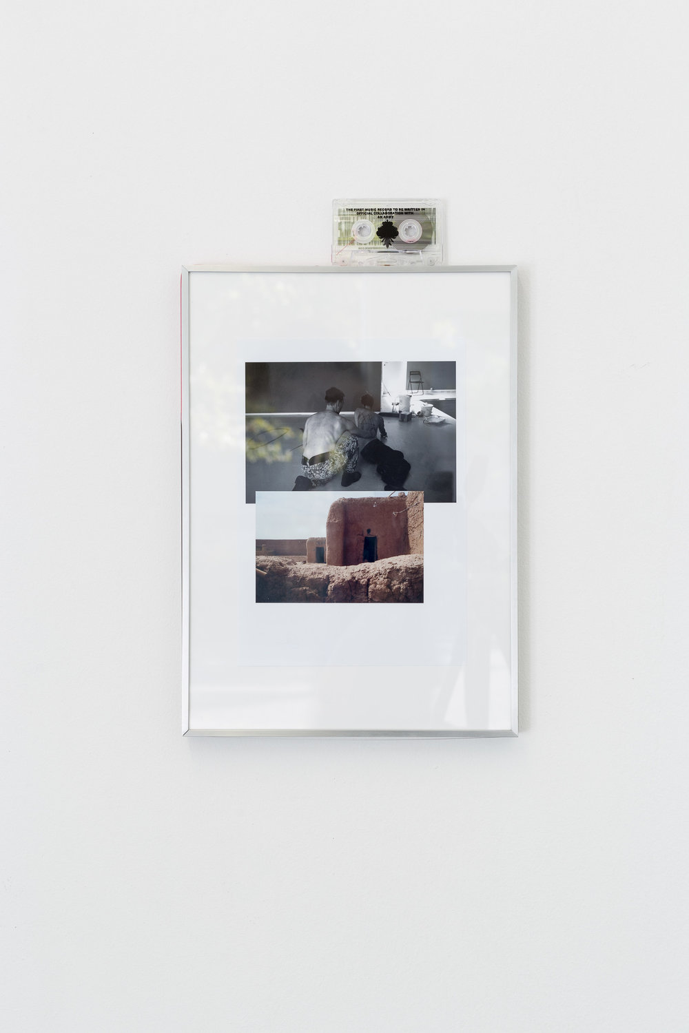 Peter Voss-Knude,  A Soldier Writing on my Back , 2017, digital print collage, framed, 21 x 29.7 cm; Peter Voss-Knude,  Peter & the Danish Defence , 2016, cassette tape, 00:39:00  Photo: Kilian Bannwart