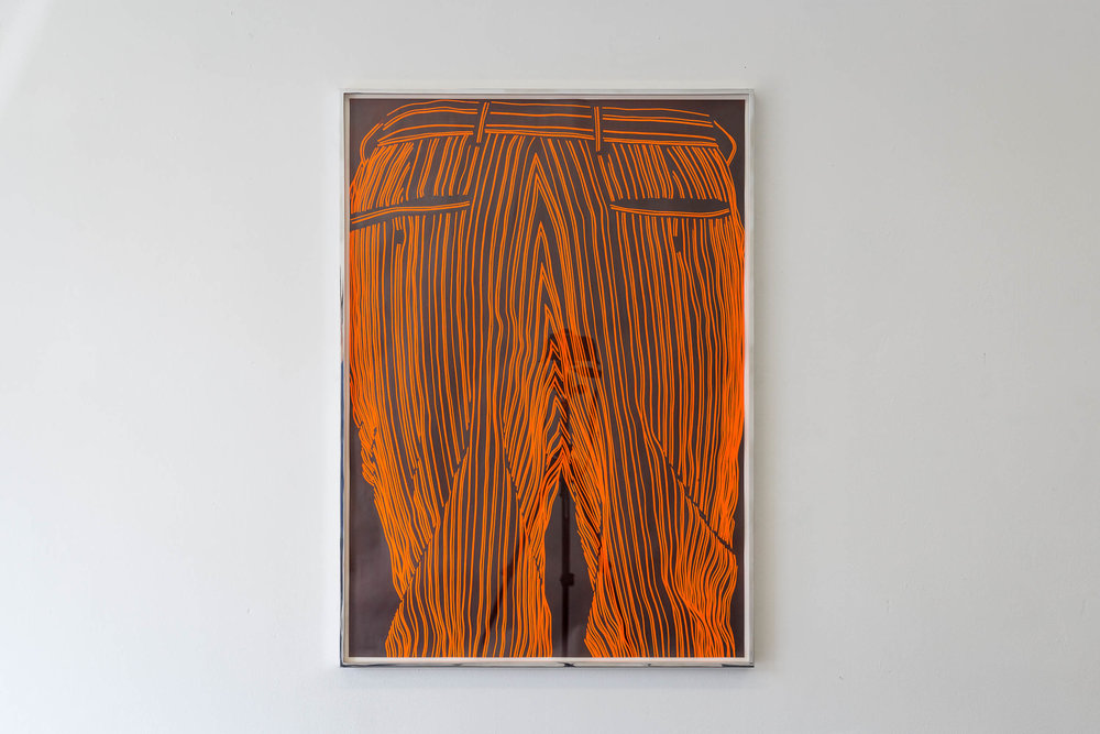 Fiona Banner,  Pinstripe Bum Face , 2015, graphite, vinyl, fluorescent paper, framed, 98.7 x 70 cm  Photo: Kilian Bannwart
