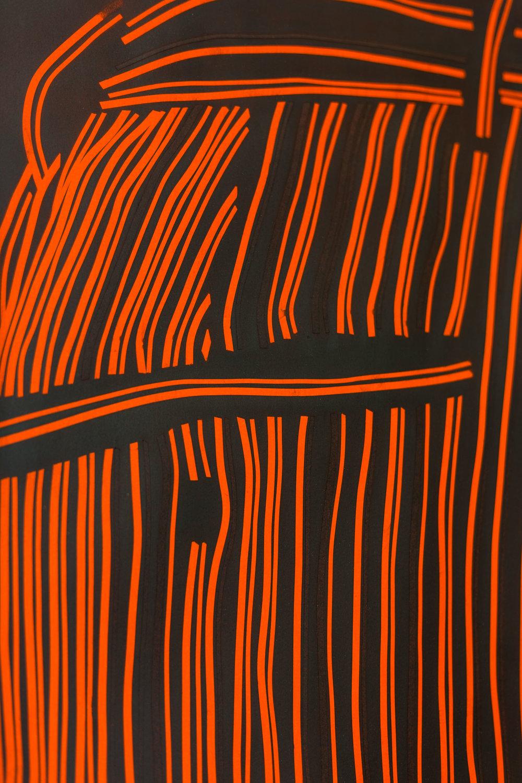 Fiona Banner,  Pinstripe Bum Face , (detail) 2015, graphite, vinyl, fluorescent paper, framed, 98.7 x 70 cm  Photo: Kilian Bannwart