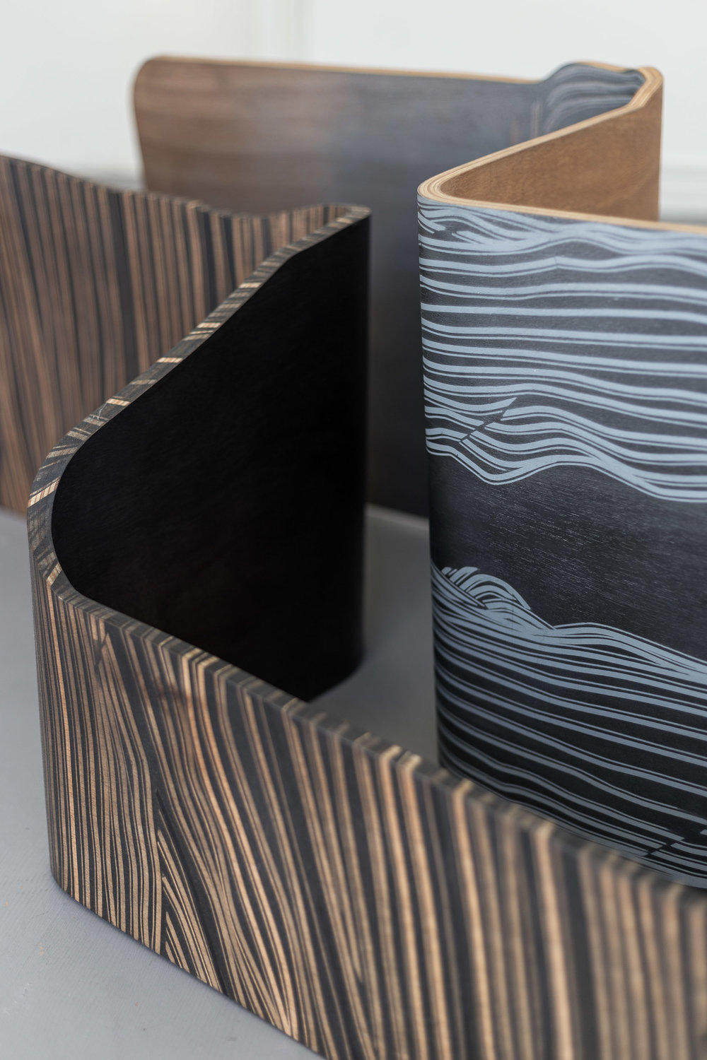 Fiona Banner,  Spooning Chairs  (detail), 2015, graphite, vinyl, plywood, chair base, 144 x 52 x 36 cm; 158 x 46 x 51 cm  Photo: Kilian Bannwart