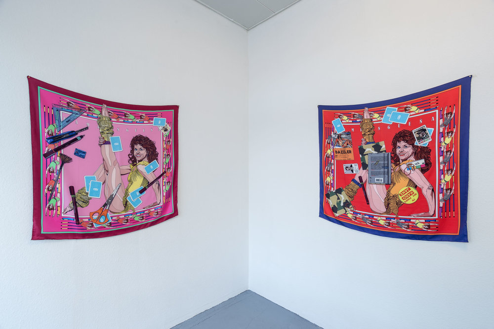 Pio Abad,  Pampangueña (A Working Biography) No 1 and 2 , 2017, unique acid dye print on hand-stitched silk twill, 100 x 100 cm   Photo: Kilian Bannwart