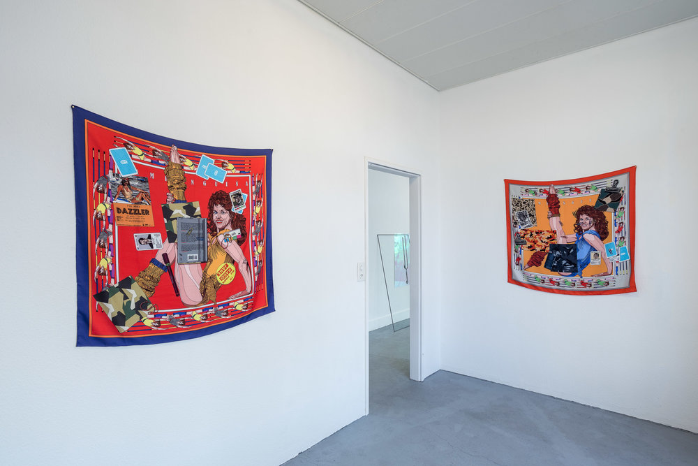 Pio Abad,  Pampangueña (A Working Biography) No 2 and 3 , 2017, unique acid dye print on hand-stitched silk twill, 100 x 100 cm   Photo: Kilian Bannwart