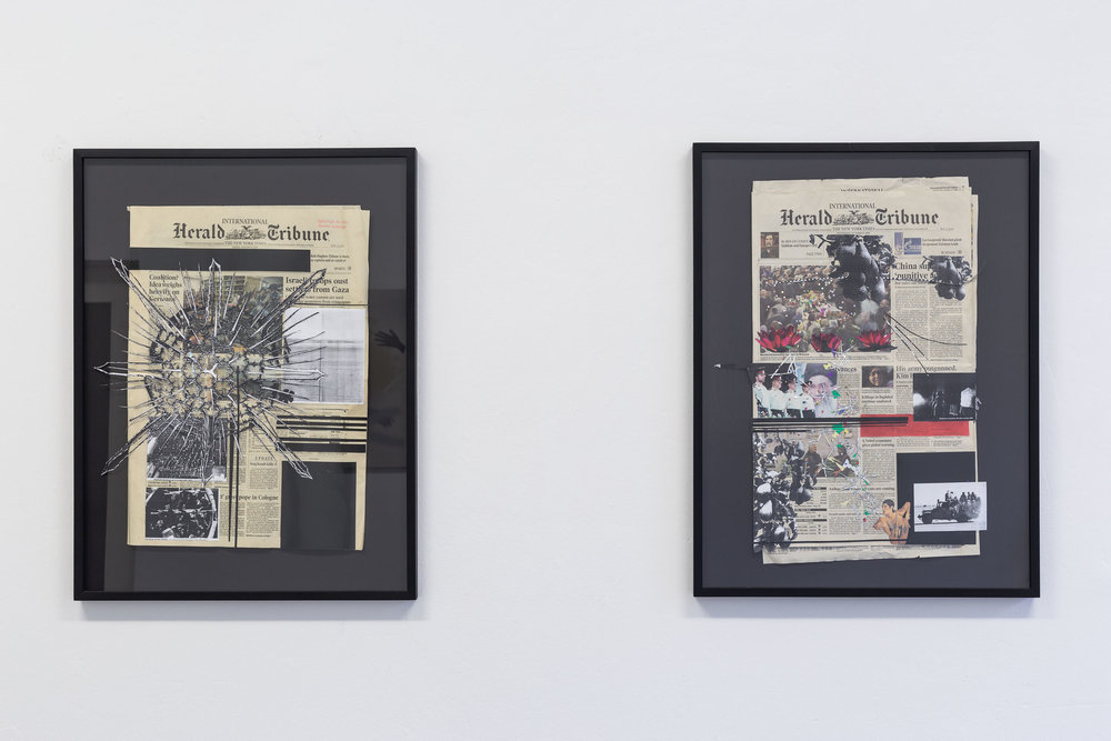 Kirstine Roepstorff,    Where The World Wonder - The Road To Excelsior # 10    (left) and  # 11  (right), 2006, Silverfoil, photocopy, various papers on Herald Tribune   newspaper   74,5 x 56.5 cm   Photo: Kilian Bannwart