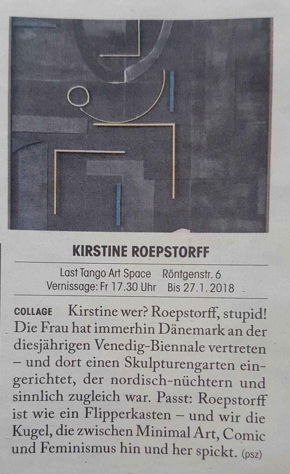 Tages Anzeiger, Züritipp, 07/12/17 by Paulina Szczesniak -
