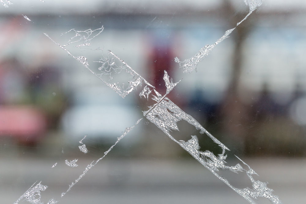 Kong Chun Hei, Crossed (detail), 2018, scratched window foil, dimension variable  Photo: Kilian Bannwart
