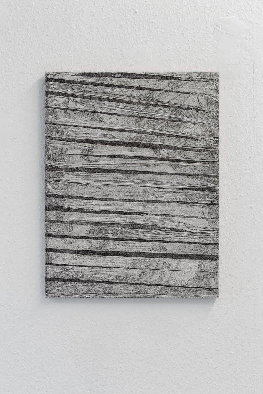 Kong Chun Hei,  Stripes , 2017, Ink on paper mounted on aluminium board and wooden frame, 47.1 x 61.4 x 2cm
