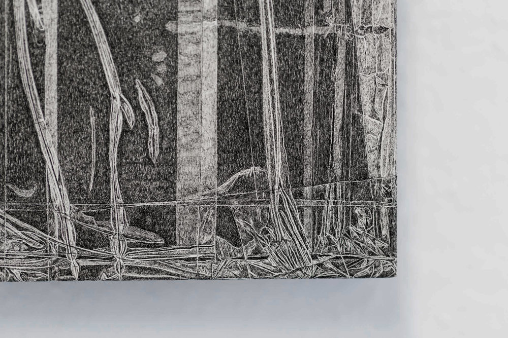 Kong Chun Hei,  Parcel  (detail), 2018, Ink on paper mounted on wooden frame, 20 x 30 x 5cm
