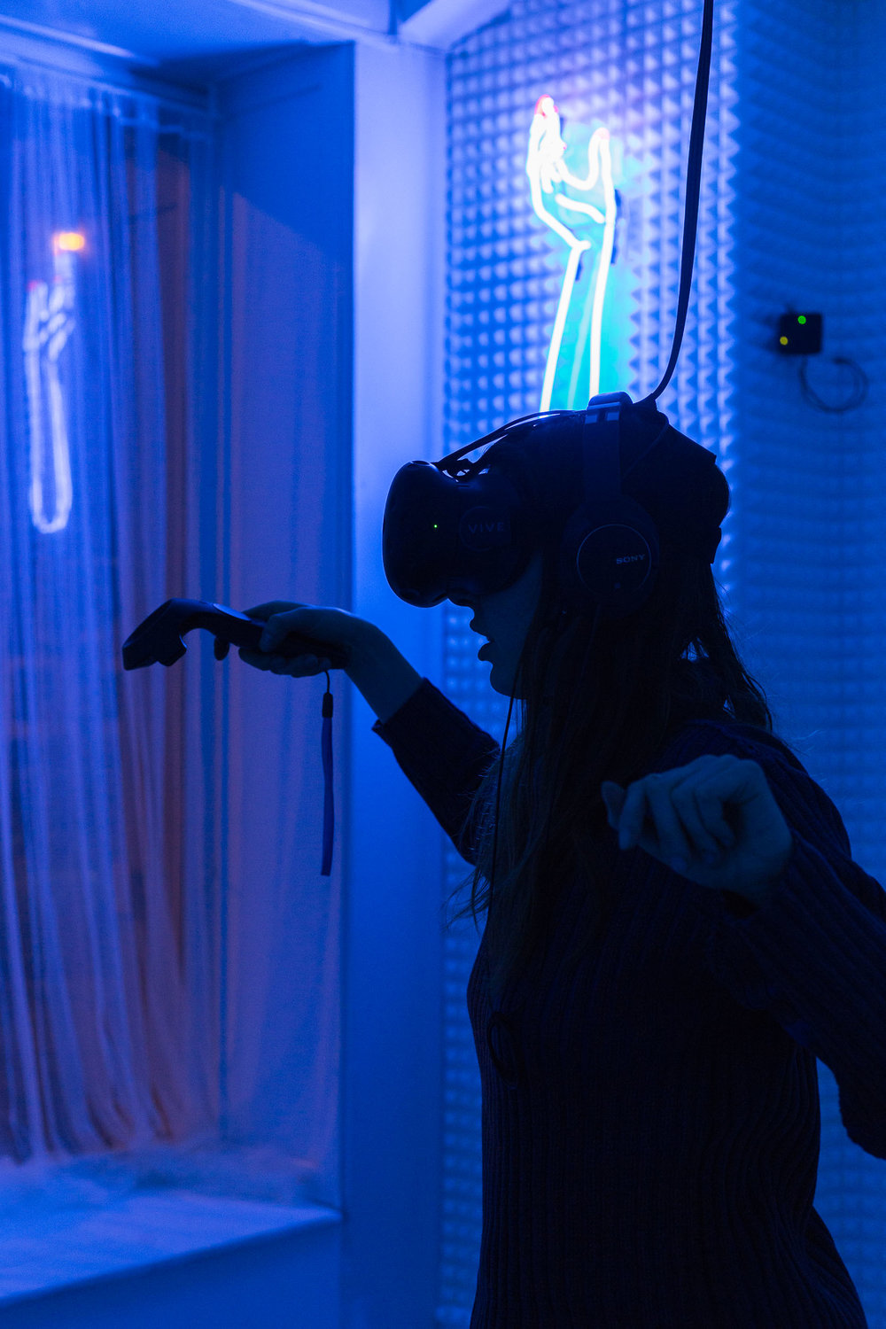 Mélodie Mousset,  HanaHana , 2016-2018, Virtual Reality Experience, Room Installation, Neon, dimension variable  Photo: Kilian Bannwart