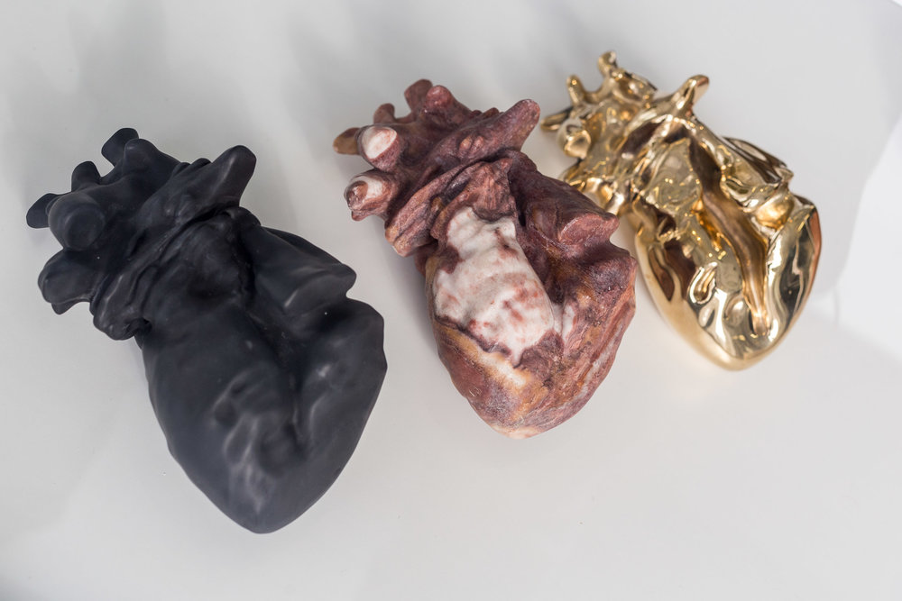 Mélodie Mousset,  Organs  (detail), 2015, Marble, Stone, Bronze in Vetrine, dimension variable  Photo: Kilian Bannwart