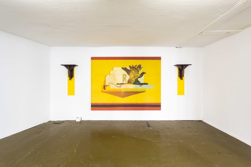 Silvie and Chérif Defraoui,  Bilderstreit (Lugar/Llano) , 1987, scanachrome on canvas, 2 wooden con- soles and wall painting, 188 x 245 cm   Photo: Kilian Bannwart