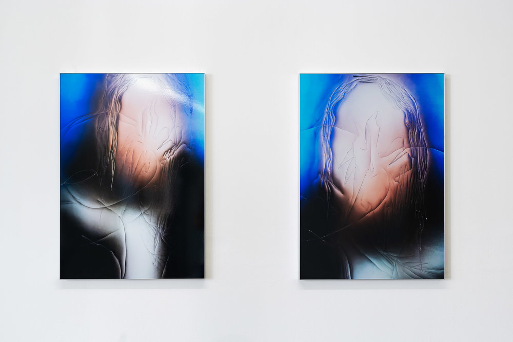 Left: Manon Wertenbroek,  Portrait left, wet hair , 2018, lambda print on metallic paper, 71 x 50x 3cm Right: Manon Wertenbroek,  Portrait right, wet hair , 2018, lambda print on metallic paper, 71 x 50x 3cm   Photo: Kilian Bannwart