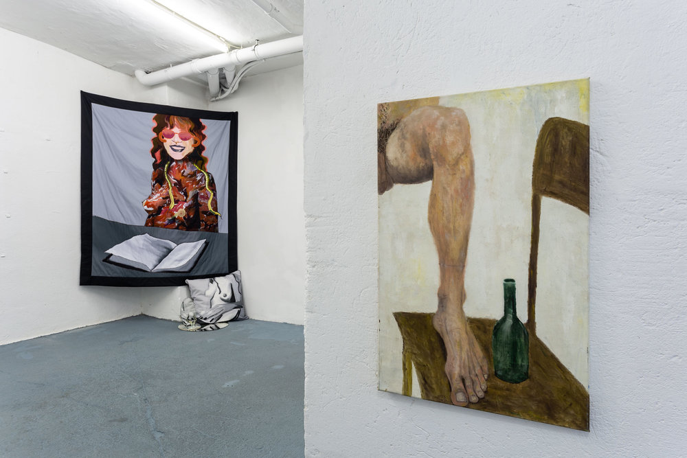 Left: Left: Xénia Lucie Laffely,  Chase the pattern (Quilt for Judy Chicago),  2018, Digitally printed satin cotton, cotton velvet, machine embroidery, Swarovski crystals, synthetic fleece, 180 x 160 cm Right: Dieter Hall,  Leg and beer bottle,  1992, Oil on canvas, 94 x 60 cm Photo: Kilian Bannwart