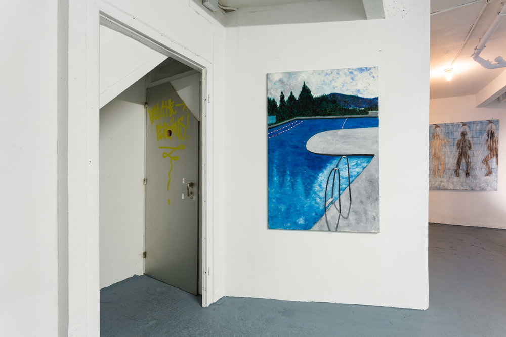 Left: Dieter Hall,  Schwimmbad Letzigrund I,  2014, Oil on canvas, 135 x 90 cm Right: Dieter Hall,  3 men,  2006, Oil on canvas, 135 x 135 cm   Photo: Kilian Bannwart