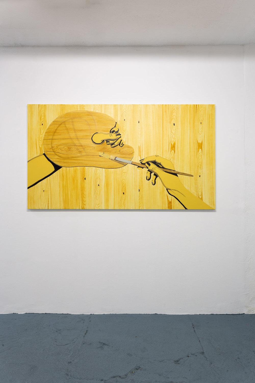 Sarah Margnetti,  Inner Circle,  2019, oil on canvas, 179 x 100 cm Photo: Kilian Bannwart