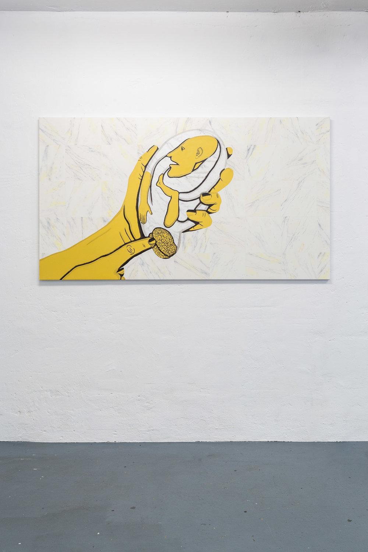 Sarah Margnetti,  Master Sensorial,  2019, oil on canvas, 179 x 100 cm Photo: Kilian Bannwart