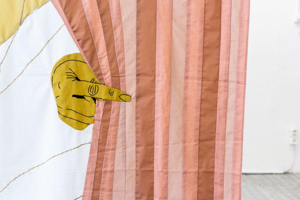 Sarah Margnetti,  Wait For It, Watch Until The End,  2018, fabric, 270 x 130 cm Photo: Kilian Bannwart