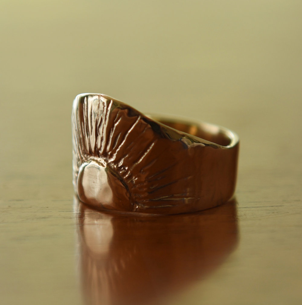 14k Gold Sunburst Ring, $550