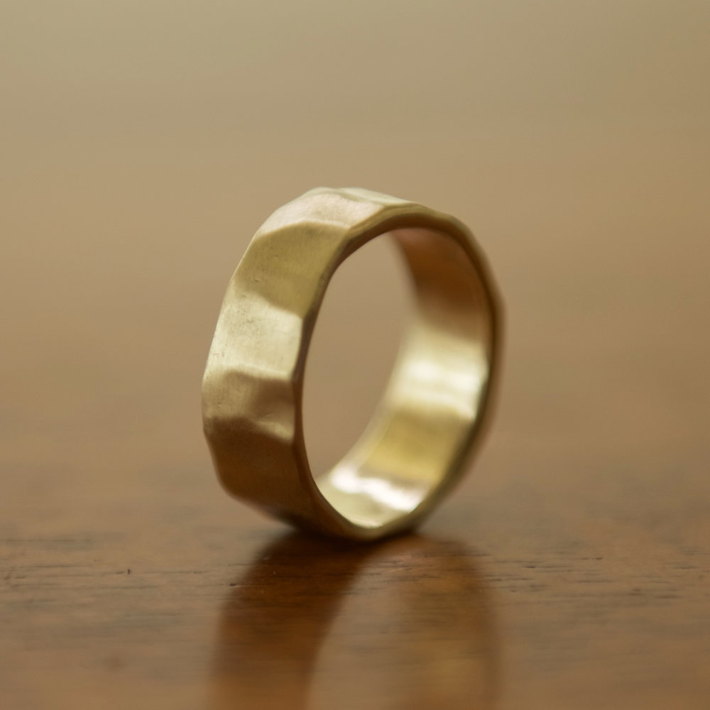 14k Gold Matte Hammered Band, $450