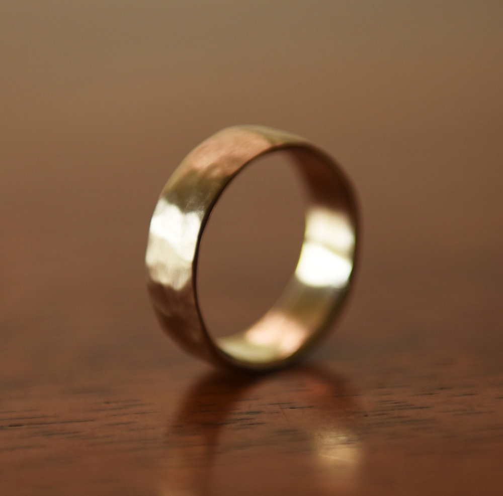 14k Gold Lightly Hammered Band, $450