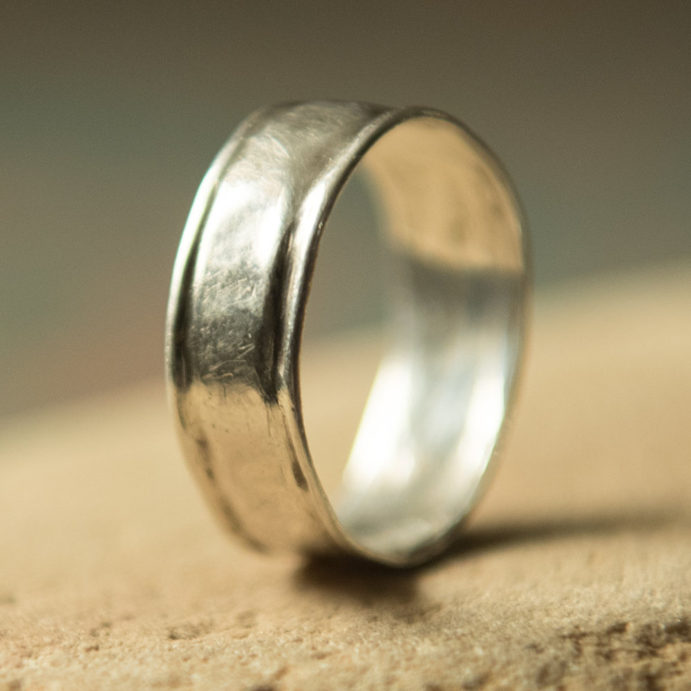 Sterling Silver Ridged Band, $200