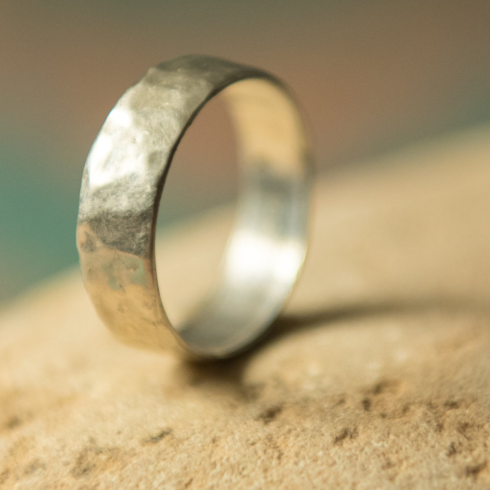 Sterling Silver Lightly Hammered Band, $200