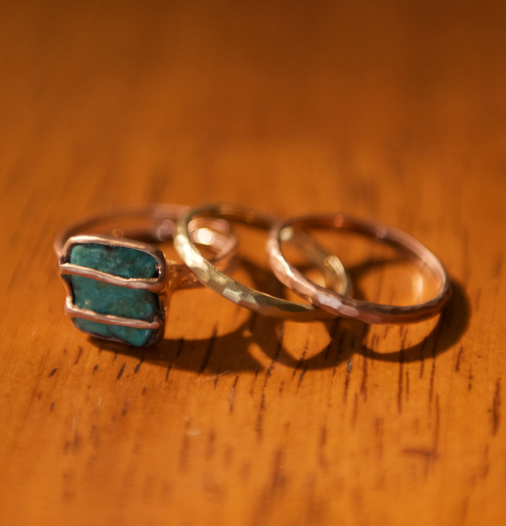 Turquoise & 14k Rose Gold + 2 Stackable Bands, $1,200