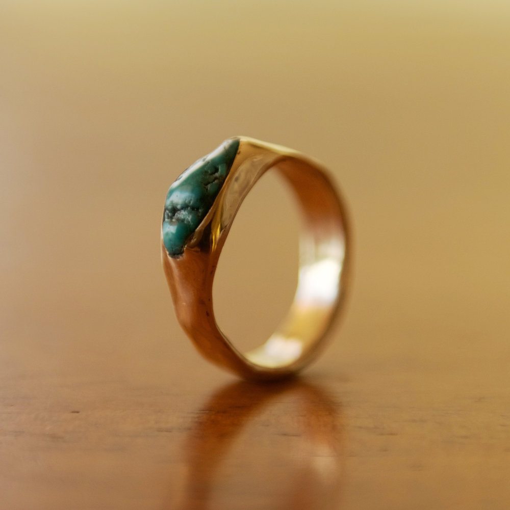 Turquoise & 14k Gold, $600